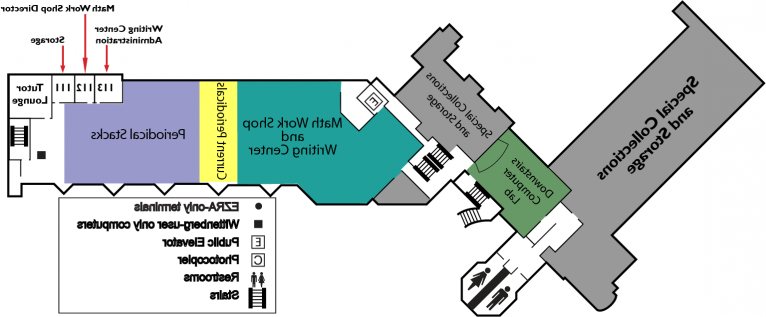 Map of the first floor of 托马斯库书库.  图书馆 periodicals, the Math Workshop and the Writing Center are located on this floor.