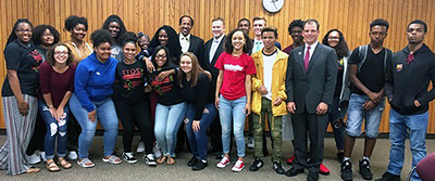 Upward Bound students at funding announcement