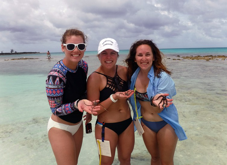 Kaity, Madison, and Cora holding 3 brittle stars